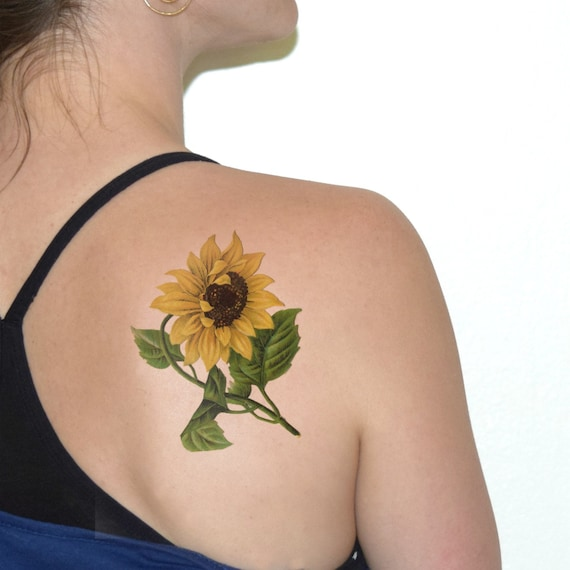 Sunflower temporary tattoo flower temporary tattoo vintage for Sunflower temporary tattoo