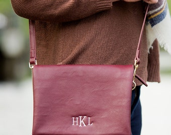 Monogrammed Purse, Crossbody Purse, Monogrammed Bags, Burgundy Purse, Maroon Crossbody Purse, Faux Leather Purse, Bridesmaids Gifts