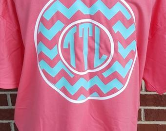 Monogrammed Chevron Circle Short Sleeve Shirt. Monogrammed Shirt. Monogrammed Gifts. Personalized Shirt. Circle Monogram Shirt.