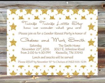 Twinkle Twinkle Little Star Gender Reveal Party Invitation - Little Star Gender Reveal Invite - Gold Gender Reveal Invitation Party Invite