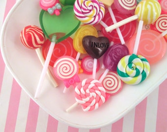 5 Assorted Lollipop Cabochons, Cute sweets Cabs
