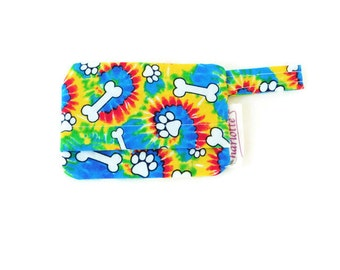 Tie dye dog bag holder, multicolor poop bag holder, dog mess dispenser, waste bag holder, bag holder