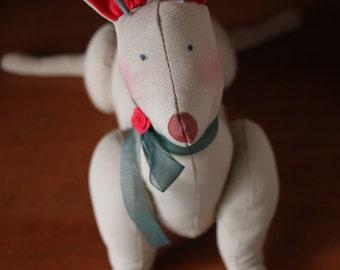 Hand made plush free standing reindeer