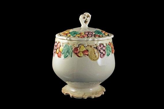 Cookie Jar, Lefton, Della Robbia, Hard to Find, Fruit Pattern, Cream Colored Background, Pedestal Base, Covered Cookie Jar