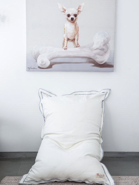 Items similar to BIG PILLOW,white floor cushion, white beanbag, home decor rustic, gift for boys ...