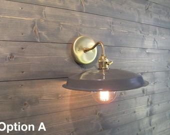 Painted Vinyl Record Wall Sconce - Grey, Blue, Red, White, or Green - Reused Plastic Industrial Wall Mount Light