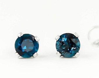 Genuine Natural London Blue Topaz 4mm Stud Earrings in 925 Sterling Silver Studs,Natural Gemstone earrings, December Birthstone, Green studs