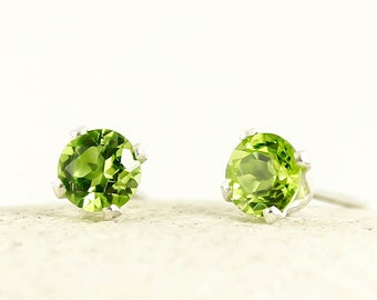 Genuine Natural Peridot 4mm or 5mm Stud Earrings in 925 Sterling Silver Studs, Natural Gemstone earrings, August Birthstone, Green studs