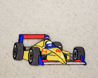 Yellow Race Car - Iron on Applique - Embroidered Patch - Formula One Style -  151527A