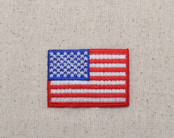American Flag - Red Border - USA - Patriotic - Iron on Applique - Embroidered Patch - 620821-A
