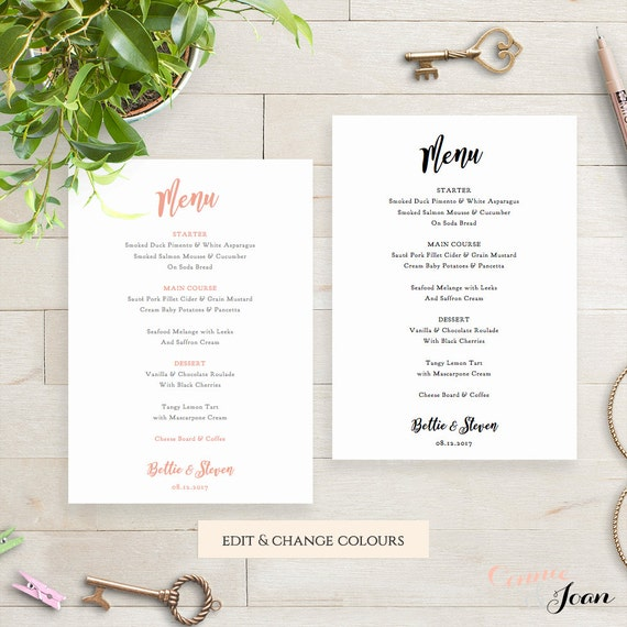 wedding menu template printable wedding menu printable 5x7. Black Bedroom Furniture Sets. Home Design Ideas