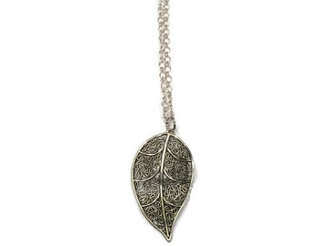 Leaf Necklace - Leaf Charm Necklace - Silver Leaf Necklace - Leaf Charm Statement Necklace - Statement Necklace - Silver Jewelry