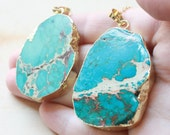 Jasper Necklace, Stone Necklace, Gold Turquoise, Boho Jewelry, Ocean Jasper, Gypsy Necklace, Bohemian Necklace, Long Necklace, Festival Chic