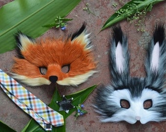 Judy Hopps & Nick Wilde Faux Fur Masks, modeled after Zooptopia