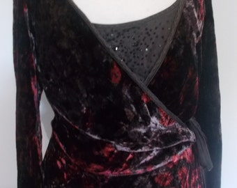 Vintage dress 90s Nougat of London chocolate brown red silk velvet wrap evening dress size small