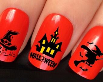 halloween nail art set #652 x24 haunted house flying witch pumpkin head black bat water transfer decals stickers