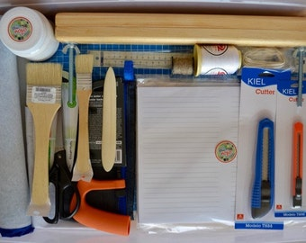 Bookbinding Kit.  Box full of all the basic tools for binding your first books.