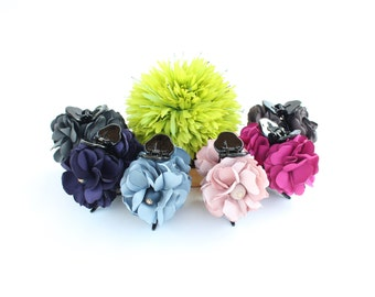 SALE: 21 -> 14 dollars!!! Flower with Wonderful Petals (Light Pink, Dark Pink, Brown) hair claw clip, lovely cotton cute