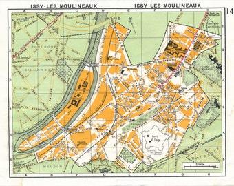 1977 Paris France Vintage Neighborhood Map, Issy-Les-Moulineaux