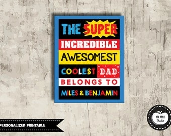 GIFT FOR DAD. Digital Printable. Fathers Day Gift. Superdad. Super Dad Wall Art. Superhero Wall Decor. Dad Birthday. Gift for Husband