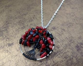 Tree of Life Pendant, Obsidian and Coral Pendant