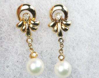Vintage Pearl Earrings Japanese Cultured Pearl Earrings 14k Gold Pearl Diamond Dangle Earrings Pearl Dangle Drop Earrings Bridal