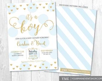 It's a Boy Baby Shower Invitation • Heart Blue and Gold Baby Shower Invite • Boy Baby Sprinkle Printable Invitation