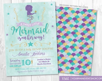 mermaid baby shower invitation under the sea baby shower, Baby shower invitation
