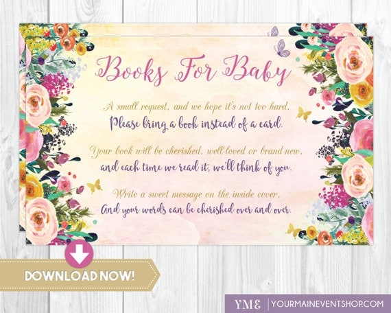 Watercolor Floral Book Request Card • Whimsical Books For Baby • Baby Shower Book Request Card Printable Instant Download • BS-G-02