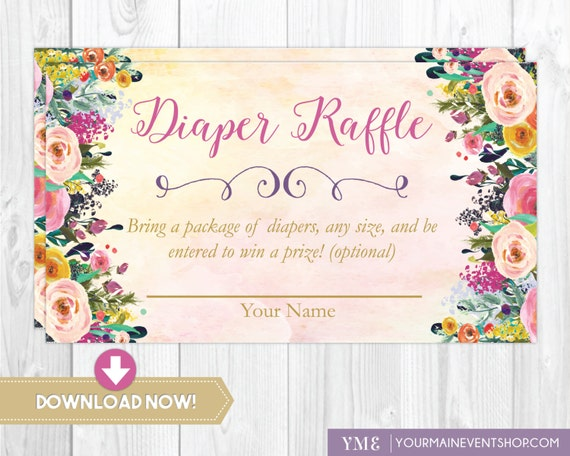 Watercolor Floral Diaper Raffle Card • Whimsical Diaper Request Raffle Card Printable Instant Download • BS-G-02