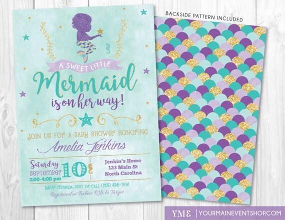 Mermaid Baby Shower Invitation, Little Mermaid Invite, Under The Sea Baby Shower Invitations, Nautical