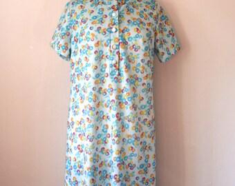 Vintage Dress, Smock, Mid Century, Size UK 12-14,  US Size 8-10, Short-sleeved, 1960s, Mad Men, Summer Dress