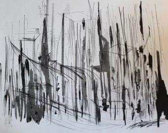 Grey Skies, Lithograph, printmaking