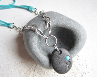 Basalt Stone Necklace, Beach Stone Jewelry, Lake Michigan Wedding, Black and Turquoise, Circle Necklace, Stone Circle, Beach Wedding