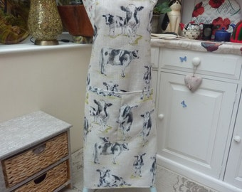 Cow Apron with pocket ,Adjustable Neck Strap. With or Without Hand Embroidered Name Option
