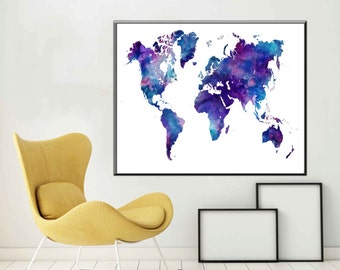 A1 Poster World Map Watercolor Watercolour Printable A2 Poster Large Printable World Map Poster Kids Room decor Gift ideas Map Art