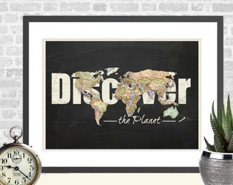 Discover the planet download,printable wall art,home decor instant download,gift for travellers,collage sheet  -0022.171015-