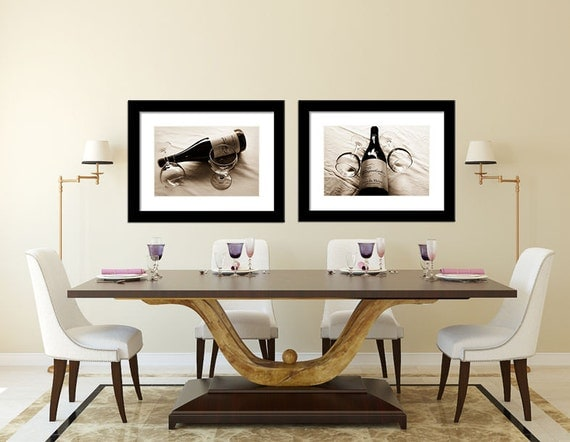 Dining room wall art wine bottle wine glasses photos for Wine and dine wall art