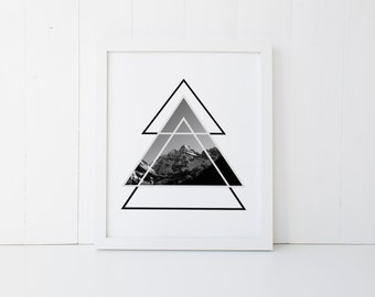 Geometric Triangle Art, Geometric Print, Triangle Print, Mountain Photography, Black and White Triangle, Geometric Triangle