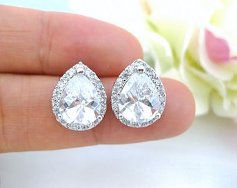 Bridal Crystal Stud Earrings Wedding Jewelry Cubic Zirconia Earrings Teardrop Earrings Bridesmaid Gifts Sparky Earrings (E010)