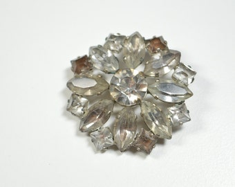 Vintage Clear Rhinestone Flower Pin Brooch Rhinestone Prong Set Rhinestone Brooch Flower Pin Antique Brooch Antique Pin