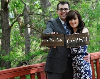Custom Save the Date Wood Signs - Rustic Wood Signs with White Calligraphy with your Wedding Date & Save the Date!