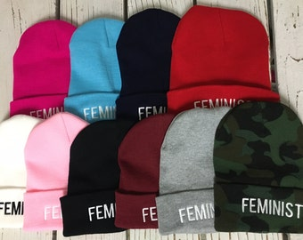 FEMINIST Embroidered Beanie Cuffed Cap - Multiple Colors