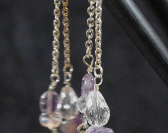 Sterling silver fish charm and amethyst Hairsticks