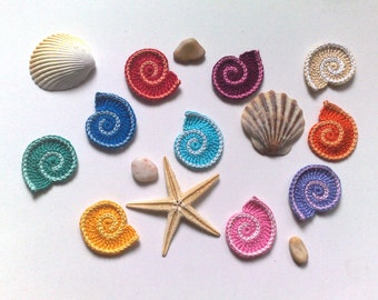 Crochet sea shell set 10 Sealife Applique shell Party decorations Spiral seashell