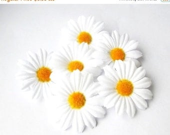 """ON SALE 10 Artificial Daisies Silk Flowers White Chamomile yellow center measuring 2"""" Floral Hair Accessories Flower Supplies Faux Fabric Ch"""