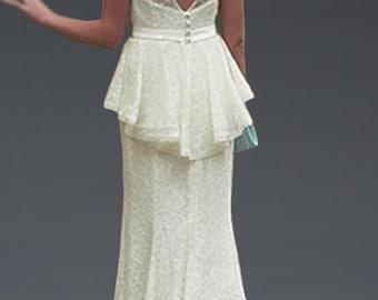 Custom White or Ivory Vintage 40s Style Lace Peplum Wedding Dress