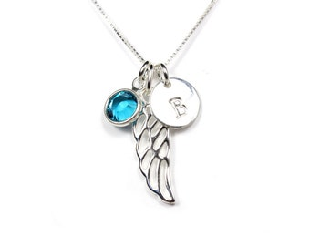 Memorial necklace, Miscarriage necklace, Guardian angel wing initial birthstone necklace, sterling silver, baby loss jewelry,