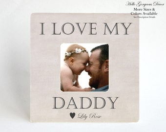 Gift To Father New Dad Picture Frame Personalized From Baby Kids Child Custom Photo I Love My Daddy Son Daughter Birthday