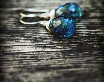 London Blue Topaz Drop Earrings // Amazing & Unique Natural gemstone // December Birthstone // Boho // Wire wrapped Hawaiian jewelry //